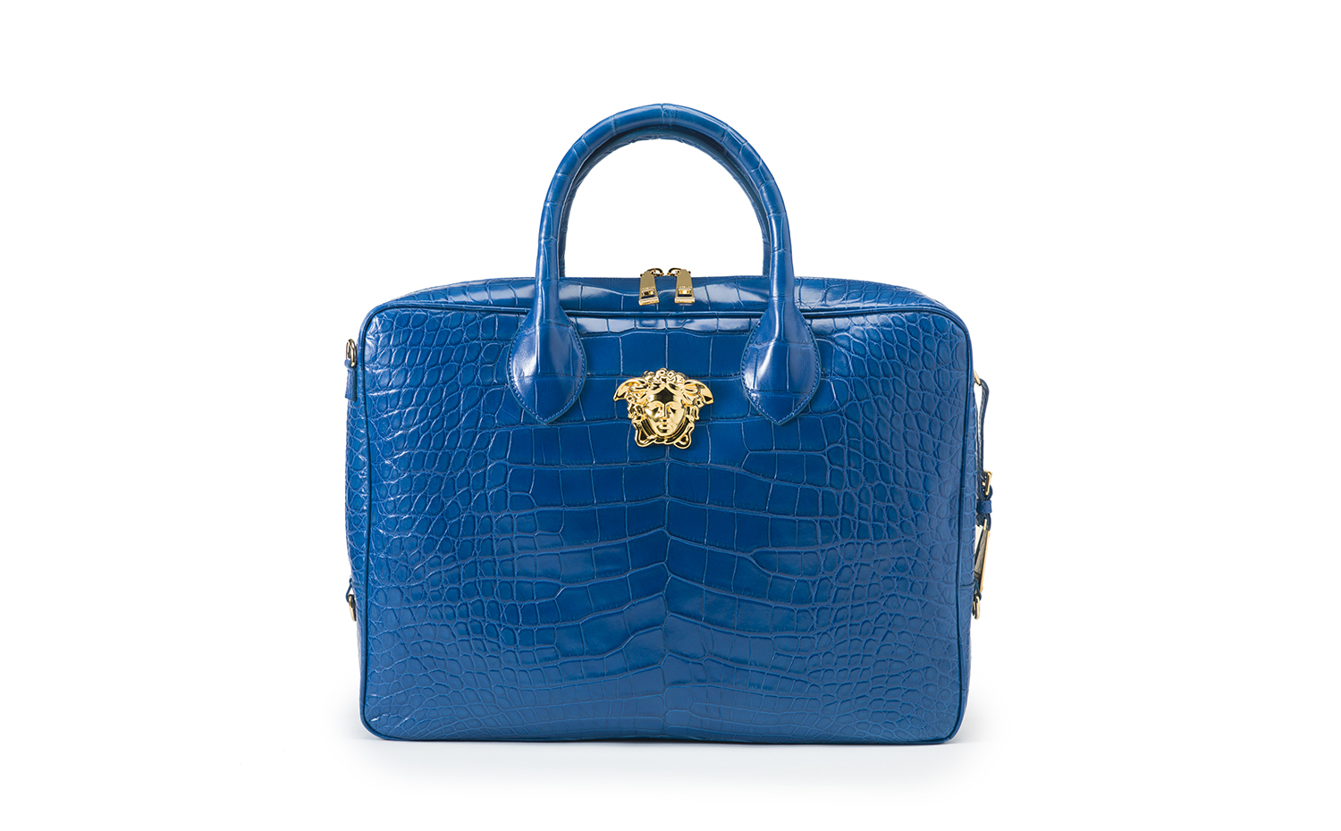 VERSACE PALAZZO BRIEF CASE BLUE ALLIGATOR